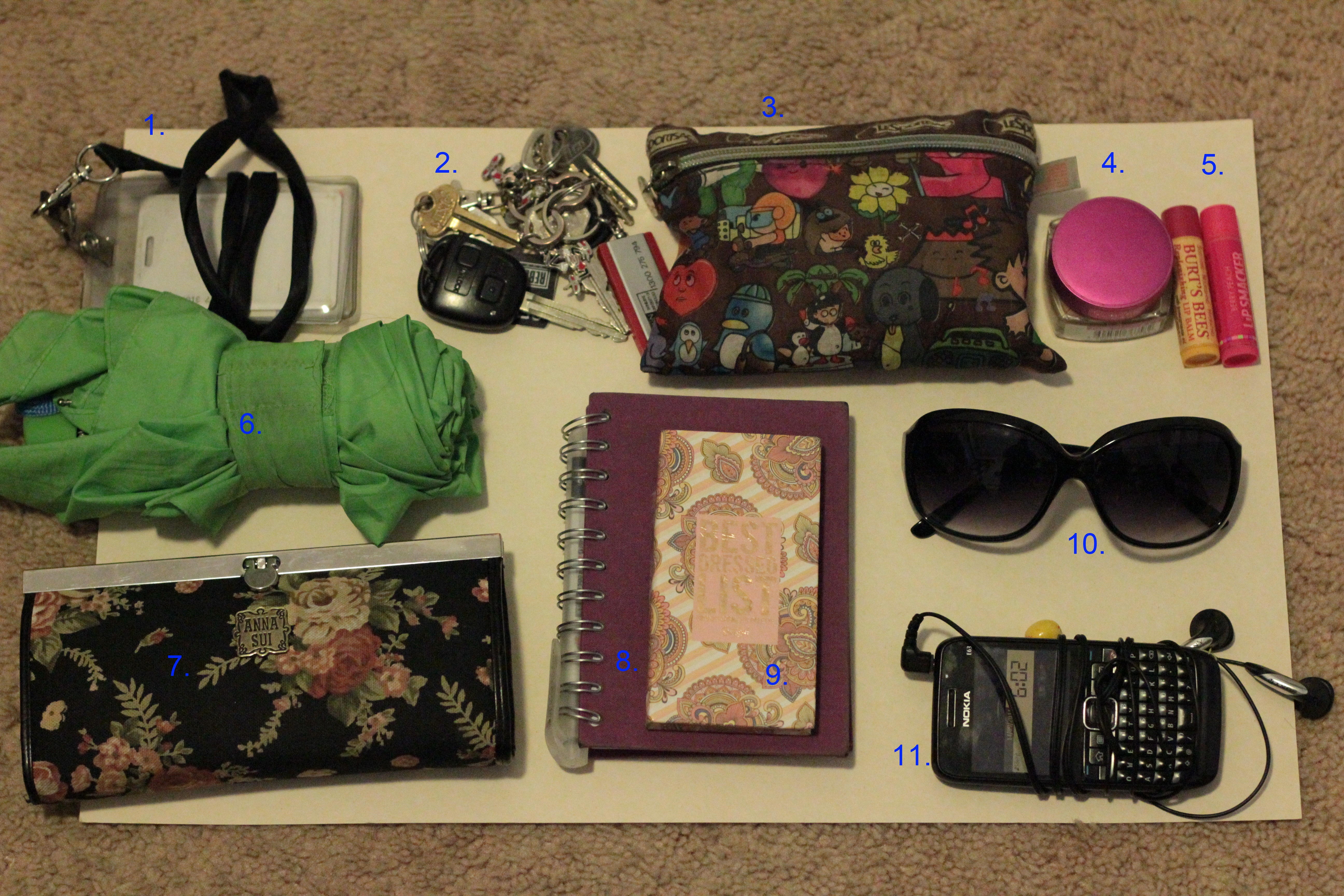 what s in your bag katattack so this is what i bring in my work bag 1 my pass to get into the work building